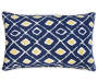 Fairlane Blue Diamond Outdoor Throw Pillow 12in x 20in silo front