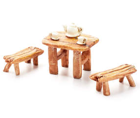 Fairy garden teapot table bench set 3 piece big lots - Garden bench ideas complete piece heaven ...