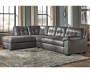 Fallston Slate Right Arm Facing Sofa Sectional in Room Environment Lifestyle Image