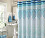 Farah Blue Diamond Shower Curtain and Hooks13-Piece Set Bathroom Lifestyle Image