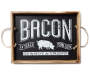 Farm Fresh Bacon Wooden Tray Overhead Shot Silo Image