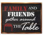 Farmhouse Fresh Family and Friends Wall Plaque with Table Drawing Silo Image