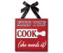 Farmhouse Fresh Kiss The Cook Hanging Plaque with Black Ribbon Silo Image