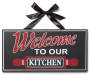 Farmhouse Fresh Kitchen Welcome Hanging Plaque with Black Ribbon Silo Image