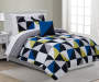 Fiona Blue Gray and Lime Geo Twin 6 Piece Reversible Comforter Set lifestyle bedroom
