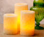 Flameless LED Embossed Pillar Candles 3-Piece Set Lifestyle Image
