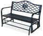 Floral Steel Glider Bench silo angled view
