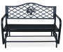 Floral Steel Glider Bench silo front