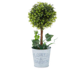 Quot Flower Amp Garden Quot Small Artificial Topiary With Galvanized