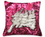 Fuchsia & Silver Mermaid Sequin Pillow 17in silo front view