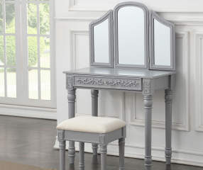 Gray Vanity Set With Trifold Mirror Big Lots