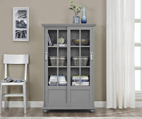 Ameriwood Gray Glass Door 4 Shelf Bookcase Big Lots