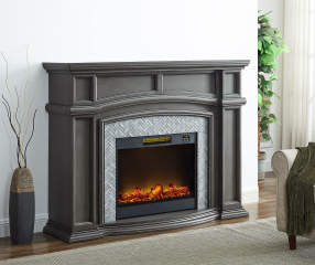 62 Quot Grand Gray Electric Fireplace Big Lots