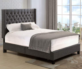 Gray Tweed Winged Upholstered Queen Bed With Button