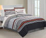 Geary Rust 8-Piece Queen Comforter Set Lifestyle Image Striped Side
