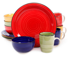 Gibson Home Multi Color Vibe 12 Piece Dinnerware Set Big