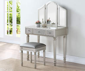 Glam Silver Tri Fold Mirror Vanity With Stool Big Lots