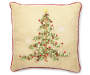 Gold Bell Ribbon Tree Decorative Pillow 15 Inches by 15 Inches Front View with Red Piping Silo Image