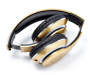 Gold Bluetooth and FM Radio Headphones silo front folded