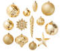 Gold Hybrid Shatterproof Ornaments 40 Pack Out of Package Displayed Silo Image