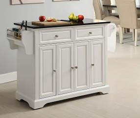 Granite Top 4-Door White Kitchen Cart   Big Lots