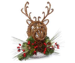Winter Wonder Lane Grapevine Deer Head With Pinecone