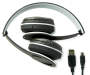 Gray Bluetooth Stereo Headphones Out of Package Folded Down with USB Cable Silo Image