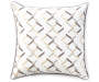 Gray Chains Embroidery Outdoor Throw Pillow 20in x 20in silo front