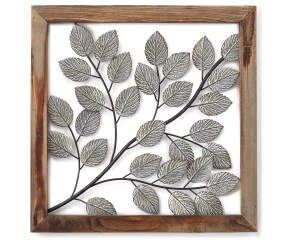 Gray Leaves Framed Metal Wall D 233 Cor Big Lots
