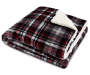 Gray Plaid Sherpa Throw Folded with Corner Folded Back Silo Image