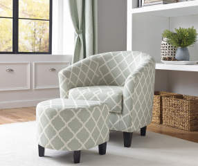 Gray Quatrefoil Upholstered Barrel Accent Chair Amp Ottoman