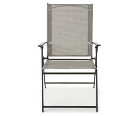 Wilson Amp Fisher Gray Sling Fabric Outdoor Folding Chair