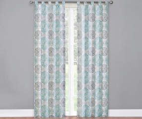 Living Colors Gray Teal Amp White Colorado Caelen Curtain