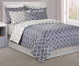 Gray Tile 8 Piece Full Comforter Set on Bed in Room