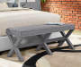 Gray Upholsted X Shape Base Bench bedroom setting