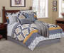 Gray Yellow Tile 12-Piece Queen Comforter Set Lifestyle Image