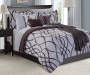 Gray and Chocolate Brown Wave 12 Piece Queen Comforter Set On Bed Room Environment Lifestyle Image