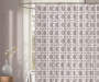 Gray and White Basket Weave Shower Curtain Lifetle Image
