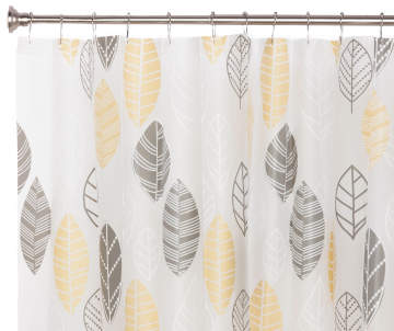 Living Colors Gray Yellow PEVA Leaf Shower Curtain