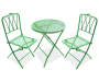 Green 3 Piece Retro Wrought Iron Bistro Set Side by Side Front View Silo Image