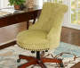 Green Button Tufted Office Chair with Walnut Base lifestyle