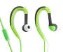 Green Flex Sport Earbuds Out of Package with Earbuds and In Line Mic Showing Silo Image