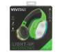 Green Neon Light Up Stereo Headphones in Package Silo Image