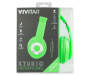 Green Neon Studio Headphones in Package Silo Image
