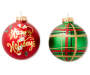 Green Plaid and Candy Cane Glass Ornaments 8 Pack Out of Package 2 Designs Displaying Silo Image
