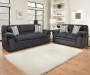 Gulfport Navy Blue Loveseat and Sofa in Room Setting Lifestyle Image