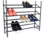 Gunmetal Gray 4 Tier Shoe Rack silo front with shoes prop