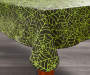 Halloween Green Spider Web Vinyl Tablecloth 52 Inches by 90 Inches Corner Fold on Table Room View