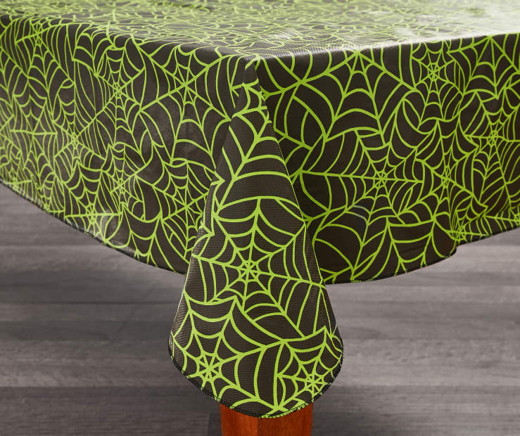 Halloween Green Spiderweb Vinyl Tablecloths Big Lots