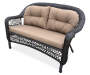 Hampstead Resin Wicker Settee Bench with Cushions Angled View Silo Image